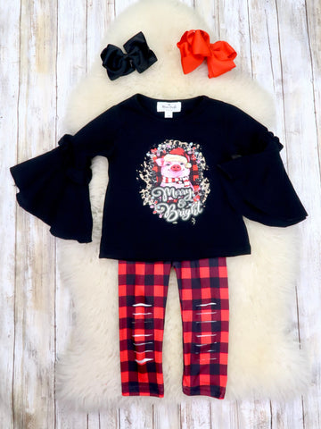 """Merry & Bright"" Pig Bell Sleeve Top & Plaid Shredded Pants Outfit"
