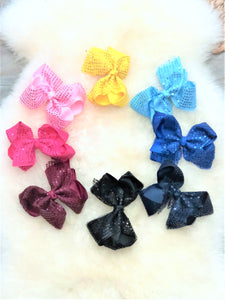 Sparkly 5 Inch Alligator Clip Bow - 8 Bow Combo