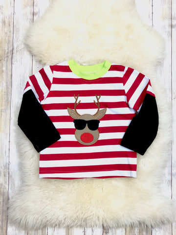 Cool Reindeer Striped Long Sleeve Shirt