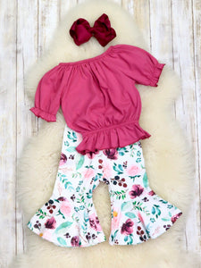 Raspberry Roses Bell Bottom Capris Outfit