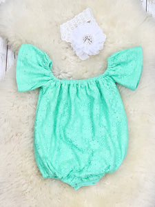 Lace Cotton Leo / Romper - Mint