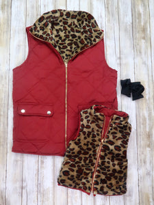 Mom & Me Cranberry Quilted Leopard Reversible Vest
