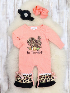 """Be Thankful"" Leopard Turkey Ruffle Romper"