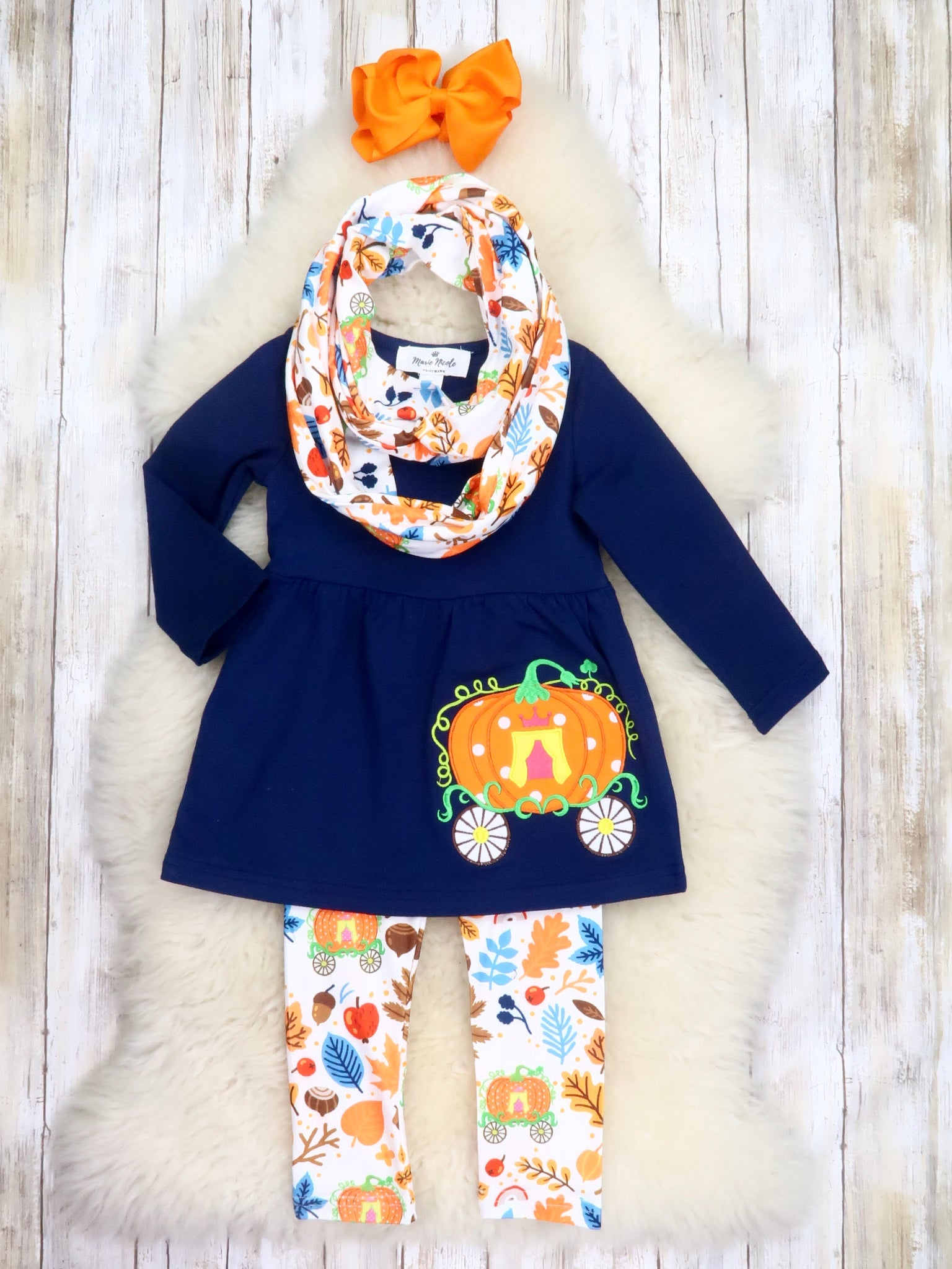 Navy Pumpkin Carriage Tunic, Pants, & Scarf Outfit