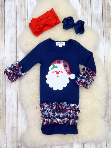 Navy Plaid Santa Sleep Gown