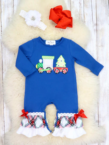 Navy Christmas Train Ruffle Romper