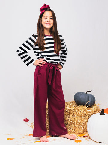 Striped Shirt & Burgundy Paper Bag Pants