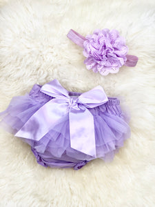 Chiffon Ruffle Diaper Cover & Headband Set- 8 Colors