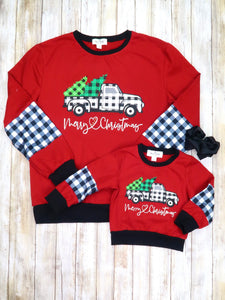 "Mom & Me ""Merry Christmas"" Plaid Truck Shirt"