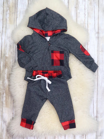 Gray / Red Plaid Hoodie & Joggers Outfit