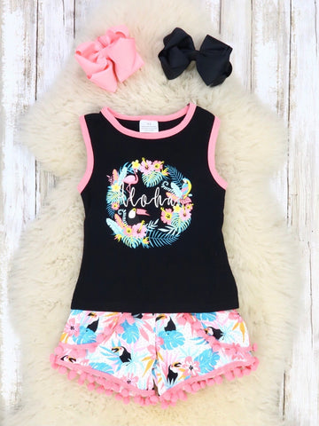Black & Pink Tropical Aloha Outfit
