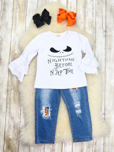 """Nightmare Before Nap Time"" Top & Distressed Denim Outfit"