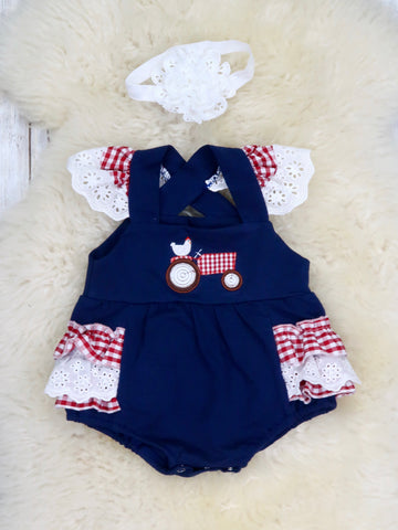 Chicken On A Tractor Navy/Check Flutter Ruffle Romper