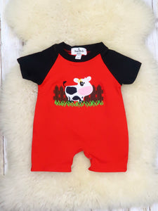 Black & Red Cow Romper