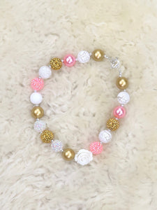 Pink / Gold Pearl Rose Bubblegum Necklace