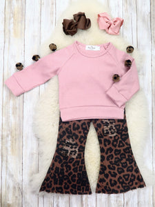 Pink Pom Pom Shirt & Leopard Flare Pants Outfit