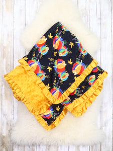 Black / Yellow Rainbow Pumpkin Minky Blanket