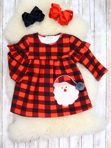 Buffalo Plaid Santa Ruffle Dress