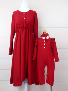 Mom & Me Cranberry Long Sleeve Dress