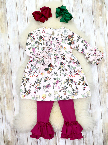 Button Icing/Ruffle Tunic - Fall Baby Pink Floral