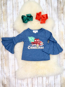 "Navy ""Christmas"" Plaid Truck Bell Sleeve Top"