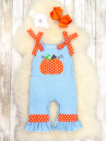 Blue Checkered Pumpkin Sleeveless Ruffle Romper