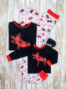 Mom & Me Red / Black Moose Pajamas