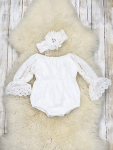 Lace Ruffle Long Sleeve Romper - White