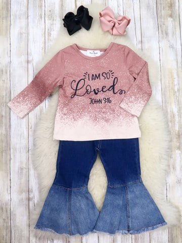 """I Am So Loved"" Top & Denim Bell Bottoms Outfit"