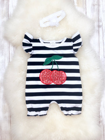Black & White Striped Cherry Romper