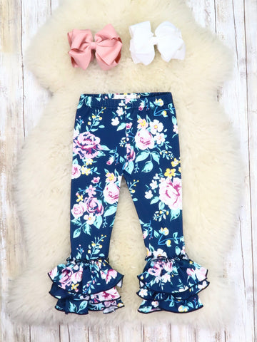 Bell Ruffle Legging - Midnight Floral