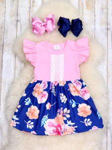 Pink & Navy Floral Lace Flutter Sleeve Dress