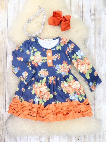 Navy / Burnt Orange Floral Ruffle Dress