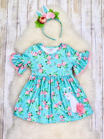 Teal & Pink Floral Bunny Ruffle Sleeve Dress with Ears Headband