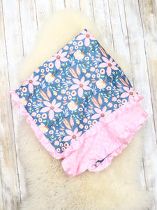 Pink Lily Minky Blanket