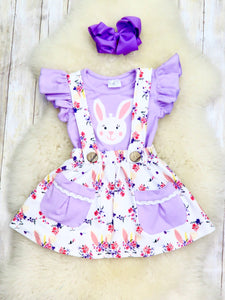 Purple Floral Unicorn Bunny Suspender Skirt With Pockets
