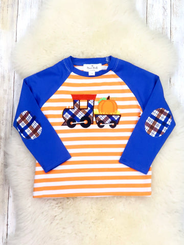 Orange / White Striped Blue Pumpkin Train Shirt