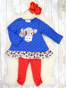 Blue Polka Dot Cow Ruffle Top & Red Pants Outfit