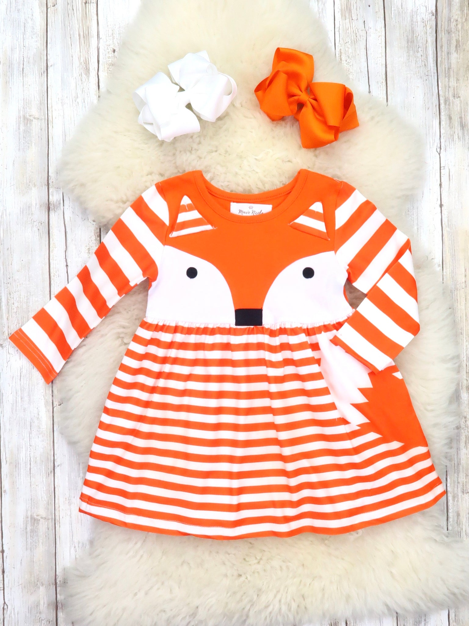 Orange Striped Fox Ruffle Dress
