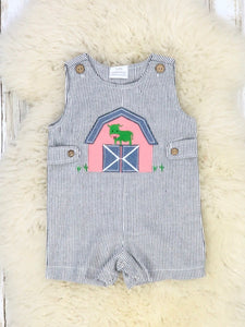 Black Pinstriped Barn Cow Romper