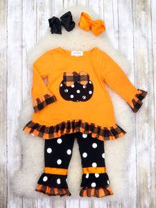 Orange / Black Pumpkin Top & Polka Dot Ruffle Pants Outfit