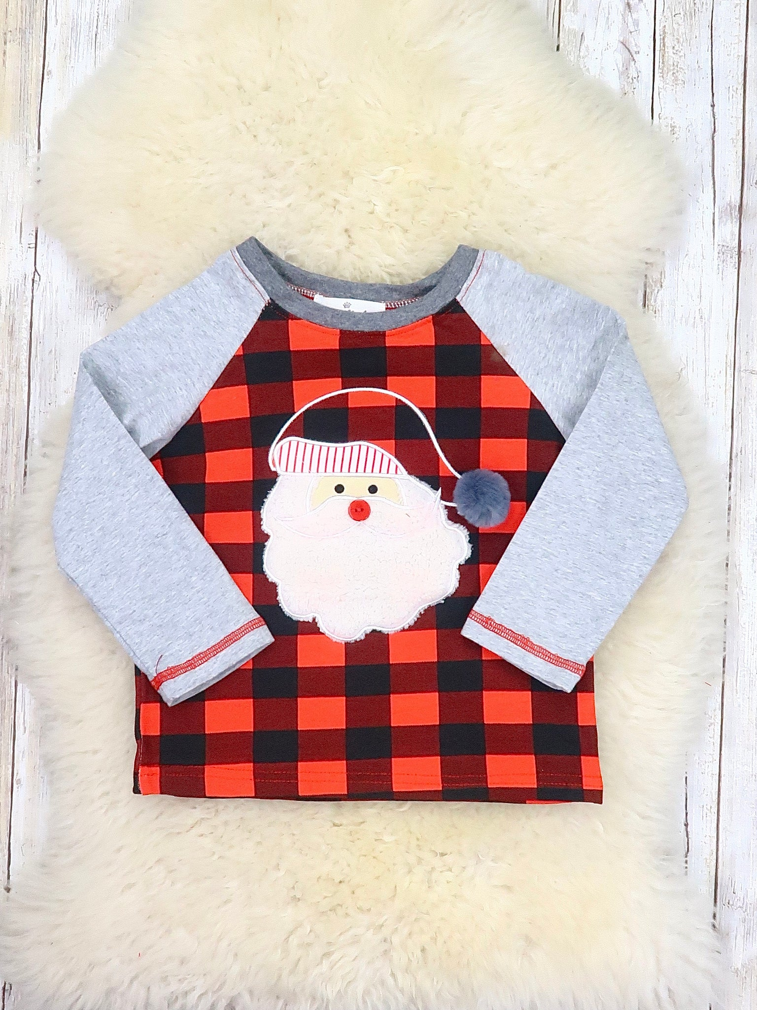 Buffalo Plaid / Gray Santa Shirt