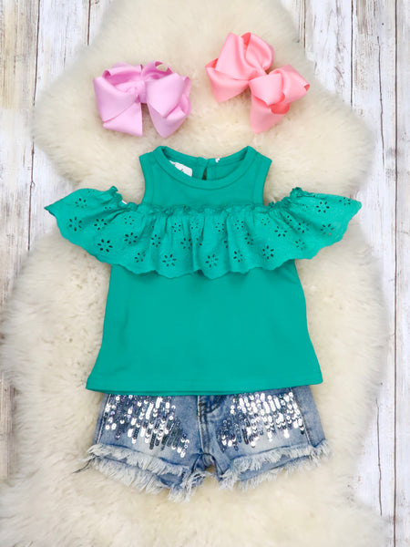 Cold Shoulder Ruffle Top - Kelly Green