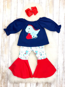 Dinosaur Heart Navy/Red Bell Bottom Outfit