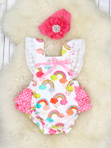Lacy Rainbow Flutter Sleeve Bubble Romper