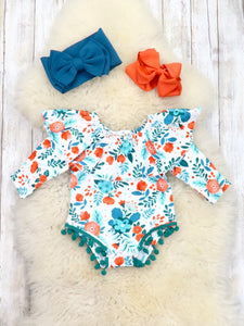 Teal / Orange Floral Ruffle Bubble Romper