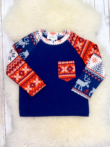 Navy Snowflake & Deer Christmas Shirt