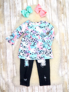 Pink / Blue Watercolor Leopard Ruffle Top & Black Denim Outfit