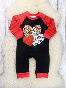 Red / Black Hearts Romper