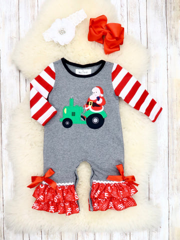 Striped Gray Santa Tractor Ruffle Romper